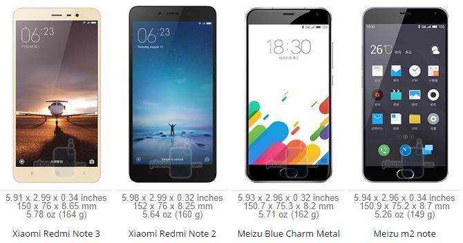 Xiaomi Redmi Note 3 VS Redmi Note 2 vs Meizu Metal VS Meizu M2 Note
