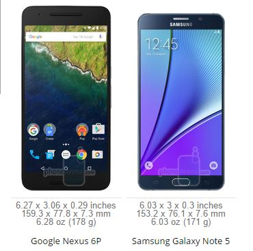 Samsung Galaxy Note 5 vs Google Nexus 6P