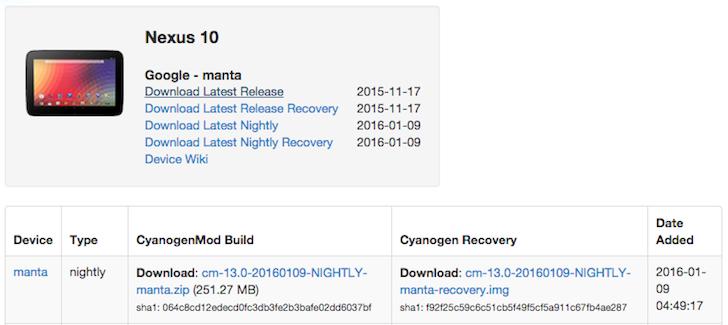 Aggiornamento CyanogenMod 13