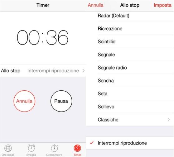 Spegnere lettore musicale di iPhone con il timer