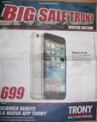 iPhone 6 volantino trony