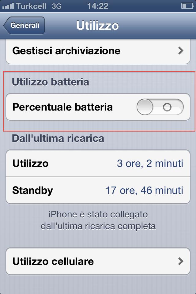 Aggiungere percentuale batteria iPhone
