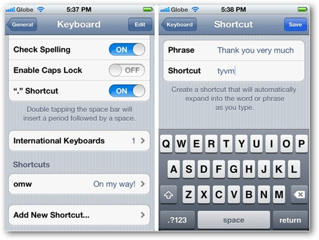 Scorciatoie Email iPhone