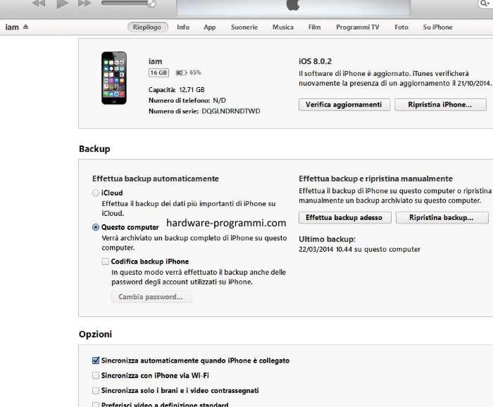 Backup su iPhone 6s