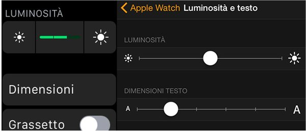Modificare manualmente luminosità display Apple Watch