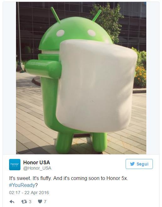 Aggiornamento Honor 5X Android Marshmallow