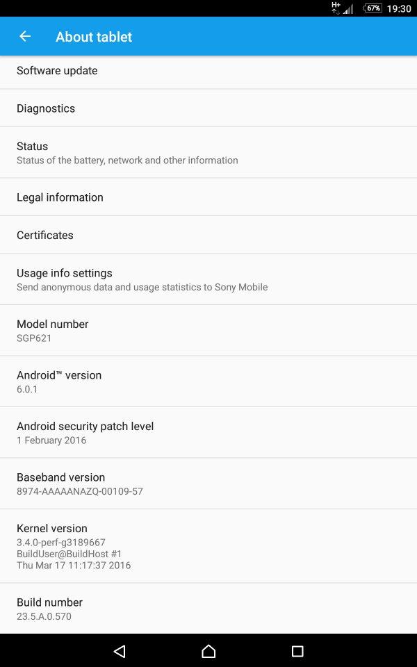 Aggiornamento Marshmallow Sony Xperia Z3 Tablet Compact