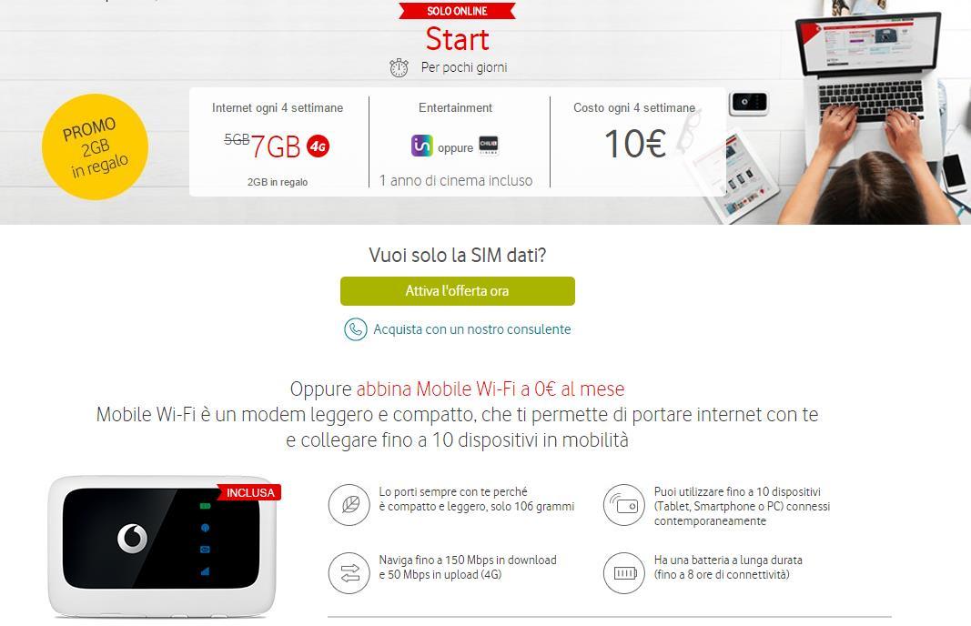 Offerta Vodafone Internet: 7 GB in 4G a 10€ con Mobile ...
