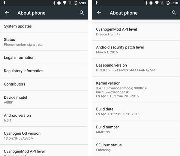 OnePlus One CyanogenOS 13