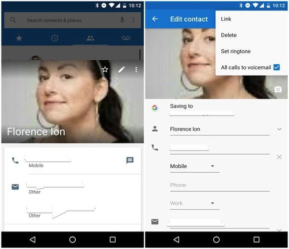 Usare Segreteria Contatti Android