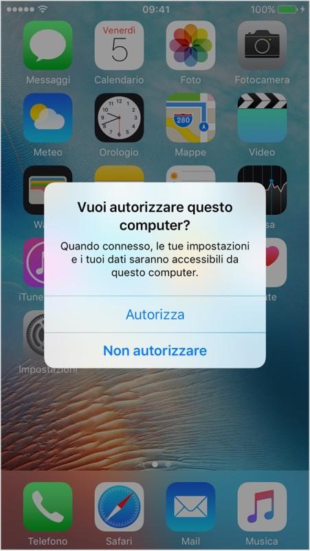 autorizzare iphone