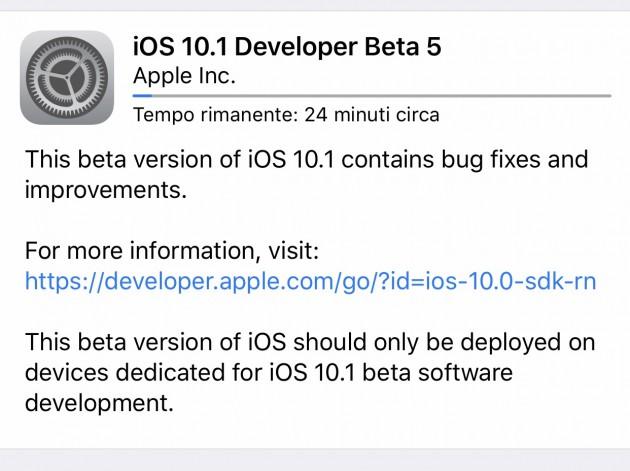 Apple iOS 10.1 beta 5