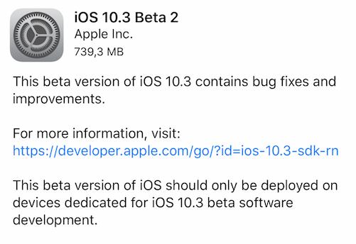 Aggiornamento iOS 10.3 beta 2