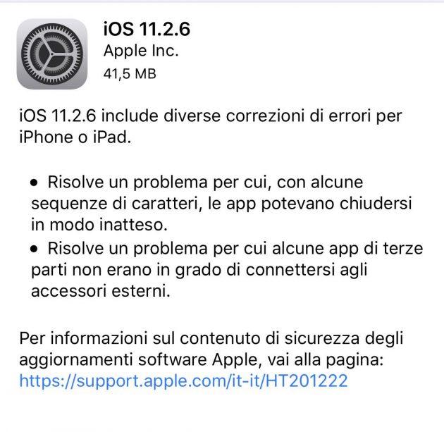 Aggiornamento Apple