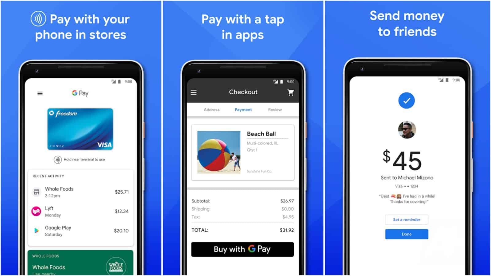 Immagine della griglia dell'app Google Pay